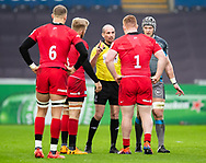 Todays referee, Alexandre Ruiz shows the red card to Rhys Carre of Saracens<br /> <br /> Photographer Simon King/Replay Images<br /> <br /> European Rugby Champions Cup Round 5 - Ospreys v Saracens - Saturday 11th January 2020 - Liberty Stadium - Swansea<br /> <br /> World Copyright © Replay Images . All rights reserved. info@replayimages.co.uk - http://replayimages.co.uk