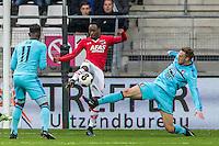 ALKMAAR - 11-12-2016, AZ -  Feyenoord, AFAS Stadion, AZ speler Ridgeciano Haps, Feyenoord speler Nicolai Jorgensen