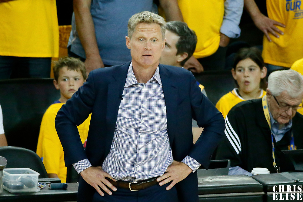 04 June 2017: Golden State Warriors head coach Steve Kerr is seen during the Golden State Warriors 132-113 victory over the Cleveland Cavaliers, in game 2 of the 2017 NBA Finals, at the Oracle Arena, Oakland, California, USA.