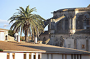 Buttresses of the Cathedral of Saint Mary of Tortosa, begun 1347, seen from the rooftops of the old town or Casc Antic, Tortosa, Tarragona, Spain. The cathedral was designed by Benito Dalguayre and built on the site of a Roman forum and Romanesque church. It was consecrated in 1597 and is built in Catalan Gothic style, with 3 naves with chapels between the buttresses, and an 18th century Baroque facade. Tortosa is an ancient town situated on the Ebro Delta which has a rich heritage dating from Roman times. Picture by Manuel Cohen