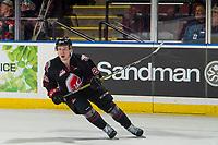 KELOWNA, CANADA - JANUARY 16: Kjell Kjemhus #29 of the Moose Jaw Warriors skates against the Kelowna Rockets on January 16, 2019 at Prospera Place in Kelowna, British Columbia, Canada.  (Photo by Marissa Baecker/Shoot the Breeze)