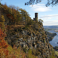 Autumn colours looking at the keep on top of Kinnoull Hill, near Perth with the River Tay below.<br />
