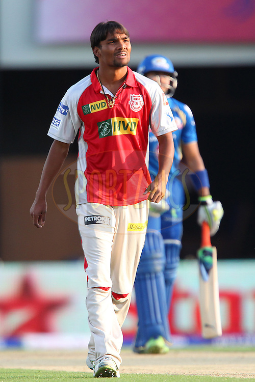 Sandeep Sharma walks back after being knocked for six during match 69 of the Pepsi Indian Premier League between The Kings XI Punjab and the Mumbai Indians held at the HPCA Stadium in Dharamsala, Himachal Pradesh, India on the on the 18th May 2013..Photo by Ron Gaunt-IPL-SPORTZPICS ..Use of this image is subject to the terms and conditions as outlined by the BCCI. These terms can be found by following this link:..http://www.sportzpics.co.za/image/I0000SoRagM2cIEc