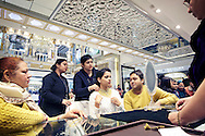 Customers try on gold jewelry at PC Jeweller in Delhi, India on January 21, 2015. Numbers of middle-class are on rise as the country's economy grows. <br /> (Photo by Kuni Takahashi)