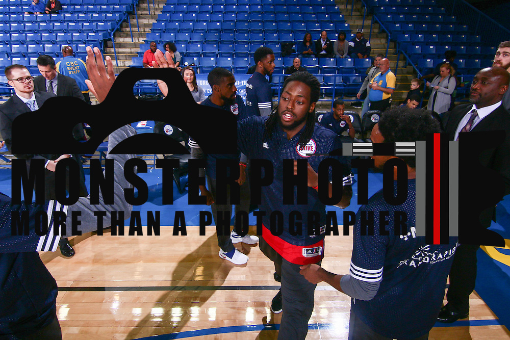 Grand Rapids Drive Guard CHRIS ANDERSON (24) is introduced to the fans prior to a NBA D-league regular season basketball game between the Delaware 87ers and the Grand Rapids Drive (Detroit Pistons) Tuesday. Nov. 29, 2016 at The Bob Carpenter Sports Convocation Center in Newark, DEL.