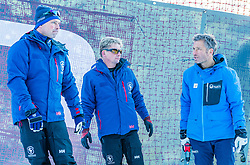 10.01.2020, Streif, Kitzbühel, AUT, FIS Weltcup Ski Alpin, Schneekontrolle durch die FIS, im Bild v.l. Thomas Voithofer (Rennstrecken Begrenzungen), Herbert Hauser (Pistenchef Streif), Hannes Trinkl (FIS Renndirektor) // f.l. Thomas Voithofer racetrack boundary Herbert Hauser slope Manager Streif and Hannes Trinkl FIS Racedirector during snow control by the FIS for the FIS ski alpine world cup at the Streif in Kitzbühel, Austria on 2020/01/10. EXPA Pictures © 2020, PhotoCredit: EXPA/ Stefan Adelsberger