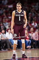FAYETTEVILLE, AR - FEBRUARY 17:  DJ Hogg #1 of the Texas A&M Aggies standing at mid court during a game against the Arkansas Razorbacks at Bud Walton Arena on February 17, 2018 in Fayetteville, Arkansas.  The Razorbacks defeated the Aggies 94-75.  (Photo by Wesley Hitt/Getty Images) *** Local Caption *** DJ Hogg