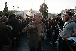 April 17, 2018 - Athens, Attica, Greece - Protesters affiliated to the Greek Communist party (KKE) rally  against US-led strikes on Syria, in Athens, Greece on April 17, 2018. (Credit Image: © Gerasimos Koilakos/NurPhoto via ZUMA Press)