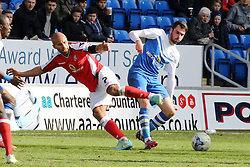 Peterborough United's Michael Smith in action with Walsall's Adam Chambers - Photo mandatory by-line: Joe Dent/JMP - Mobile: 07966 386802 - 06/04/2015 - SPORT - Football - Peterborough - ABAX Stadium - Peterborough United v Walsall - Sky Bet League One