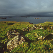 Populated until the 19th century the island still bears the remains of black houses. To the northeast of the island lie the remains of the ruined village, which was abandoned in 1857.