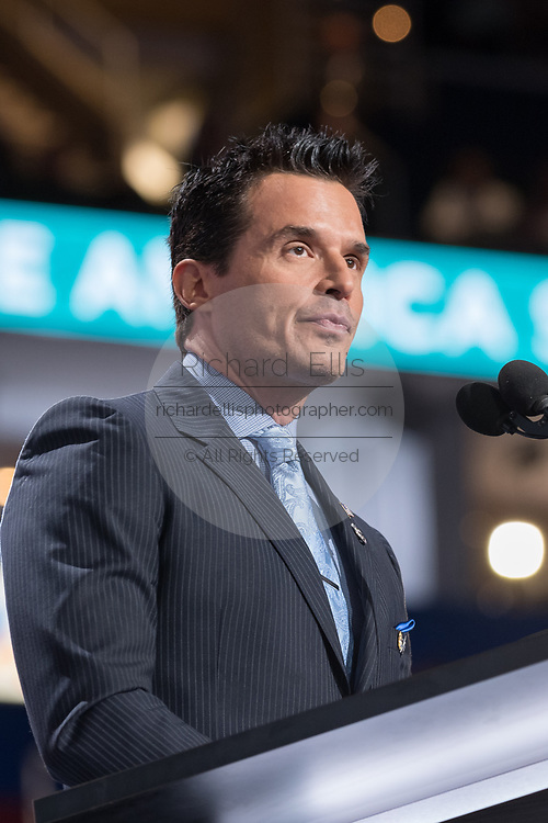 Actor Antonio Sabato, Jr. addresses the first day of the Republican National Convention at the Quicken Loans Center July 18, 2016 in Cleveland, Ohio.