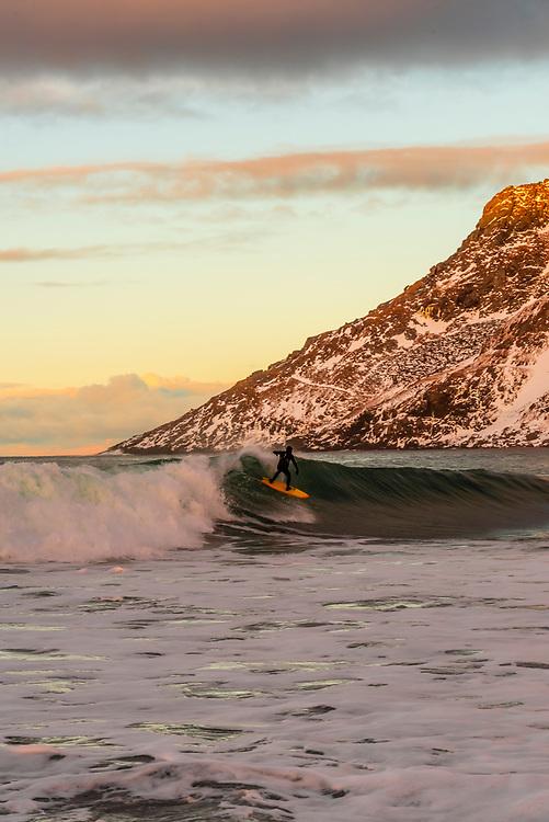 Arctic surfing, Unstad Beach, Lofoten Islands, Arctic, Northern Norway.