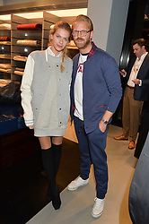 ALISTAIR GUY and BARBORA BEDIOVA at the launch of the new Frette store at 43 South Audley Street, London on 6th October 2016.