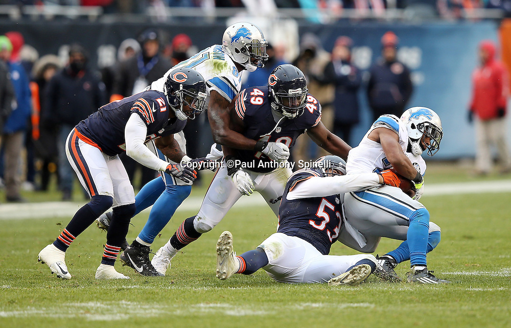 Detroit Lions rookie running back Ameer Abdullah (21) gets gang tackled by Chicago Bears linebacker John Timu (53), Chicago Bears outside linebacker Sam Acho (49), and Chicago Bears cornerback Tracy Porter (21) despite a block by Detroit Lions wide receiver Calvin Johnson (81) during the NFL week 17 regular season football game against the Chicago Bears on Sunday, Jan. 3, 2016 in Chicago. The Lions won the game 24-20. (©Paul Anthony Spinelli)