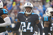 NASHVILLE, TN - NOVEMBER 29:  Coty Sensabaugh #24 of the Tennessee Titans smiles after making a tackle against the Oakland Raiders at Nissan Stadium on November 29, 2015 in Nashville, Tennessee.  The Raiders defeated the Titans 24-21.  (Photo by Wesley Hitt/Getty Images) *** Local Caption *** Coty Sensabaugh