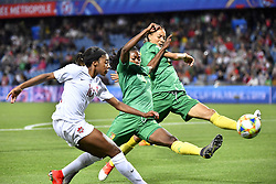 6?10???????????????????????????????????????????.Yvonne Leuko (C) and Estelle Johnson (R) of Cameroon defend Ashley Lawrence (L) of Canada during..???????????????2019?6?11?.?????????——E??????????????.?????????????2019??????????E???????????1?0??????.?????????..(SP)FRANCE-RENNES-2019 FIFA WOMEN'S WORLD CUP-GROUP E-CANADA VS CAMEROON..(190611) -- MONTPELLIER, June 11, 2019  the group E match between Canada and Cameroon at the 2019 FIFA Women's World Cup in Montpellier, France on June 10, 2019. Canada won 1-0. (Credit Image: © Xinhua via ZUMA Wire)