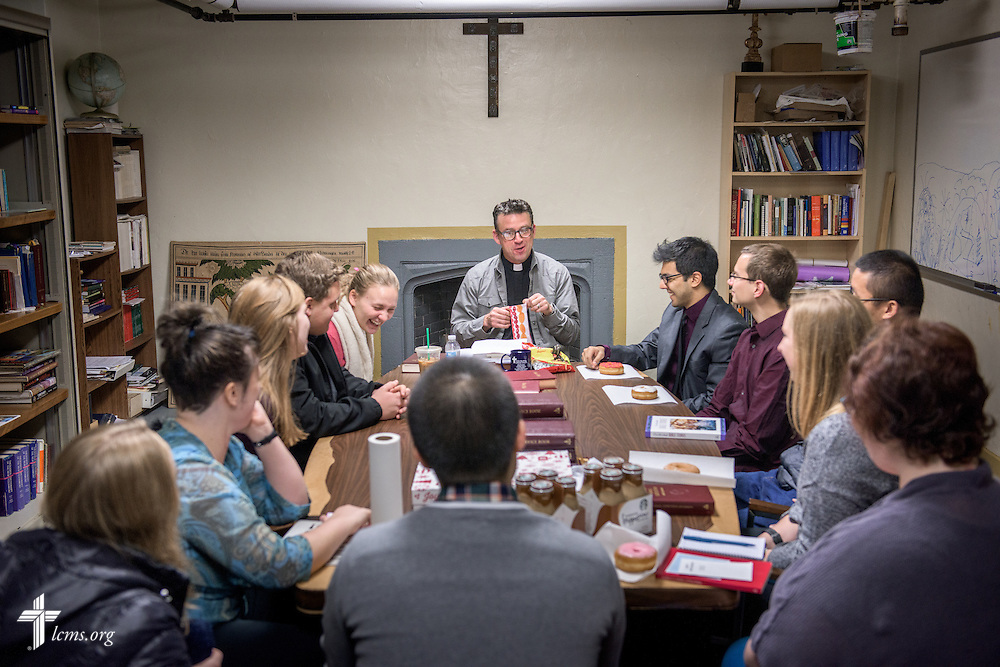 The Rev. Eric R. Andræ, associate pastor for campus and international ministry at First Trinity Evangelical–Lutheran Church and Luther House student center, leads his student Bible study before worship at the church on Sunday, Nov. 20, 2016, in Pittsburgh. LCMS Communications/Erik M. Lunsford