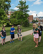 A tour group including members of the Class of 2019 listen to information about the Ping Recreation Center during Bobcat Student Orientation on Thursday, June 4, 2015.  Photo by Ohio University  /  Rob Hardin