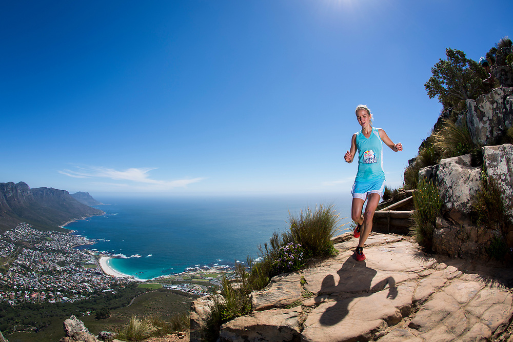 Landie Greyling with no time to look at the view during the Red Bull Lion Heart, on Lions Head, Cape Town, South Africa