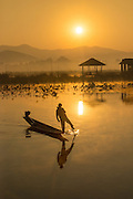 Fisherman on Inle Lake at sunrise, Inle Lake, Burma