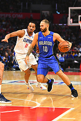 January 6, 2019 - Los Angeles, CA, U.S. - LOS ANGELES, CA - JANUARY 06: Orlando Magic Guard Evan Fournier (10) drives to the basket during a NBA game between the Orlando Magic and the Los Angeles Clippers on January 6, 2019 at STAPLES Center in Los Angeles, CA. (Photo by Brian Rothmuller/Icon Sportswire) (Credit Image: © Brian Rothmuller/Icon SMI via ZUMA Press)