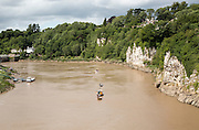 Cliff and meander loop of River Wye at Chepstow, Monmouthshire, Wales, UK