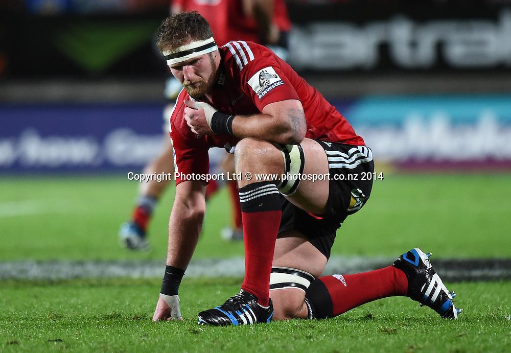 An injured Kieran Read. Chiefs v Crusaders. Super Rugby. Waikato Stadium, Hamilton, New Zealand on Saturday 19 April 2014. Photo: Andrew Cornaga/www.Photosport.co.nz