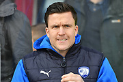 Chesterfield FC manager Gary Caldwell during the EFL Sky Bet League 1 match between Scunthorpe United and Chesterfield at Glanford Park, Scunthorpe, England on 17 April 2017. Photo by Ian Lyall.