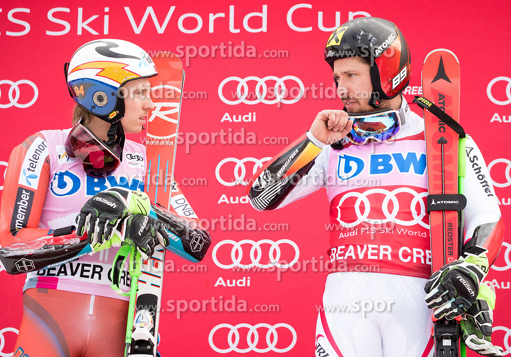 03.12.2017, Beaver Creek, USA, FIS Weltcup Ski Alpin, Beaver Creek, Riesenslalom, Herren, Siegerehrung, im Bild v.l. Henrik Kristoffersen (NOR, 2. Platz), Marcel Hirscher (AUT, 1. Platz) // f.l. second placed Henrik Kristoffersen of Norway race winner Marcel Hirscher of Austria during the winner Ceremony for the men's Giant Slalom of FIS Ski Alpine World Cup in Beaver Creek, United Staates on 2017/12/03. EXPA Pictures © 2017, PhotoCredit: EXPA/ Johann Groder
