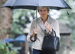 © Licensed to London News Pictures. 22/09/2018. Prime Minister THERESA MAY and her husband PHILIP attend a church service near her constituency. The PM, who will face her party at Conservative Party conference next week, demanded 'respect' from EU leaders after they rejected her Chequers plan at a recent EU summit in Salzburg, Austria. Photo credit: Ben Cawthra/LNP © Licensed to London News Pictures. 23/09/2018. Prime Minister THERESA MAY and her husband PHILIP attend a church service near her constituency. The PM, who will face her party at Conservative Party conference next week, demanded 'respect' from EU leaders after they rejected her Chequers plan at a recent EU summit in Salzburg, Austria. Photo credit: Ben Cawthra/LNP