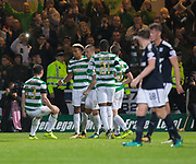 20th September 2017, Dens Park, Dundee, Scotland; Scottish League Cup Quarter-final, Dundee v Celtic; Celtic's   Scott Sinclair celebrates after scoring from the penalty spot for 1-0