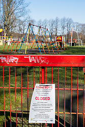 Closed Playground in Ecclesfield Park Sheffield. Third day emergency measures which were announced by Prime minister Boris Johnson on Monday evening (23rd march). Empty Spaces as people get the message to Stay at home.<br />