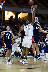15 March 2007:Valeriya Berezhynska out reaches Lashawn Johnson for a rebound.  The Owls of Rice university visited the Redbirds of Illinois State University at Redbird Arena in Normal Illinois for a round one WNIT game.