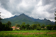 A small settlement with the Uluguru Mountains in the background on the outskirts of Morogoro on the 20th November 2019 in the capital of the Morogoro Region, Tanzania.  (photo by Andrew Aitchison / In pictures via Getty Images)