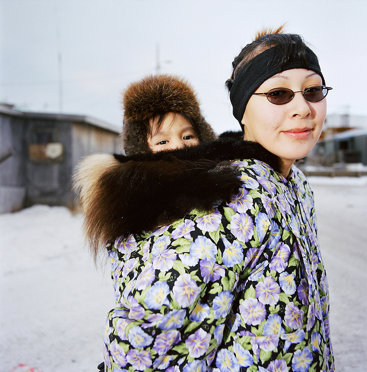 Mother and baby in Kivalina, Alaska. 2007