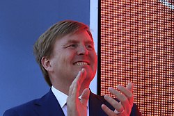 Willem-Alexander King of the Netherlands on the finish podium after Stage 1 of the 2016 Giro d'Italia, an individual time trial of 9.8km around Apeldoorn, The Nethrerlands. 6th May 2016.<br /> Picture: Eoin Clarke | Newsfile<br /> <br /> <br /> All photos usage must carry mandatory copyright credit (&copy; Newsfile | Eoin Clarke)