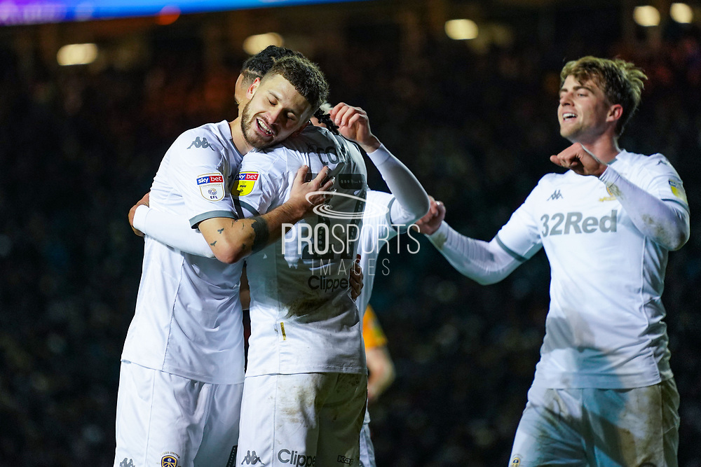 Leeds United forward Helder Costa (17) forces a Hull City defender Jordy de Wijs (4) own goal and celebrates to make the score 1-0 during the EFL Sky Bet Championship match between Leeds United and Hull City at Elland Road, Leeds, England on 10 December 2019.