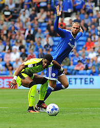 Garath McCleary of Reading tries to hold off Matthew Connolly of Cardiff City   - Mandatory by-line: Nizaam Jones/JMP - 27/08/2016 -  FOOTBALL - Cardiff City Stadium - Cardiff, Wales -  Cardiff City v Reading - Sky Bet Championship