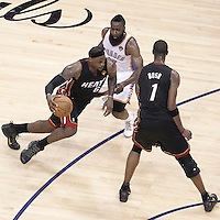14 June 2012: Miami Heat small forward LeBron James (6) drives by Oklahoma City Thunder guard James Harden (13) on a screen set by Miami Heat power forward Chris Bosh (1) during the Miami Heat 100-96 victory over the Oklahoma City Thunder, in Game 2 of the 2012 NBA Finals, at the Chesapeake Energy Arena, Oklahoma City, Oklahoma, USA.