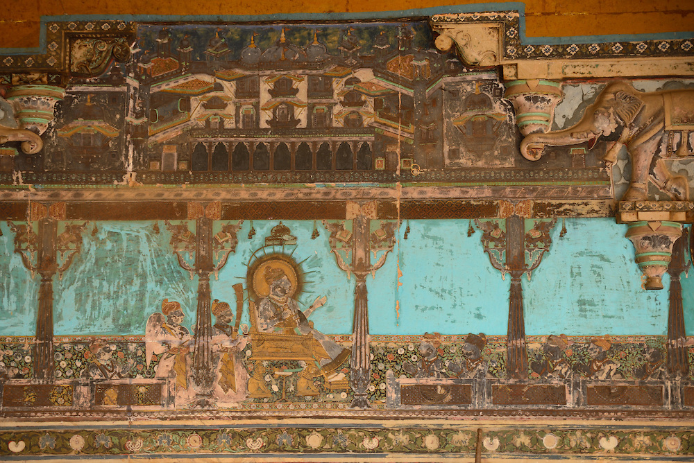 Painted wall,Bundi Palace,City of Bundi, Rajasthan,India,Asia..