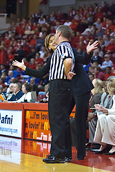 25 March 2010: Robin Pingeton pleads her case with one of the officials. The Redbirds of Illinois State crush the Jayhawks of Kansas 71-51 during the 3rd round of the 2010 Women's National Invitational Tournament (WNIT) on Doug Collins Court inside Redbird Arena at Normal Illinois.