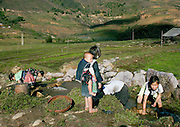 Four young girls 8-10 years old washing fodder greens in the  village stream, watched by a fifth who carries an infant tied to her back.