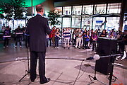 20 OCTOBER 2010 - TEMPE, AZ: Terry Goddard speaks to students and supporters after a gubernatorial candidate forum on the Arizona State University campus in Tempe, Oct 20. Goddard lost the election to sitting Governor Jan Brewer, a conservative Republican.     PHOTO BY JACK KURTZ