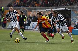 ITALY, Lecce :  Donati L Matri J Chiellini J.during the Serie A match between Lecce and Juventus at Stadio Via del Mare in Lecce on February 20, 2011. .AFP PHOTO / GIOVANNI MARINO
