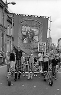 Sharlston Branch banner. 1993 Yorkshire Miner's Gala. Wakefield.