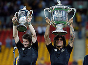 Richie McCaw and Rodney So'oailo with the Tri Nations and Bledisloe Cup trophies. All Blacks v Australia Tri Nations Rugby Union Test Match. Suncorp Stadium, Brisbane, Australia, Saturday 13 September 2008. Photo: Andrew Cornaga/PHOTOSPORT