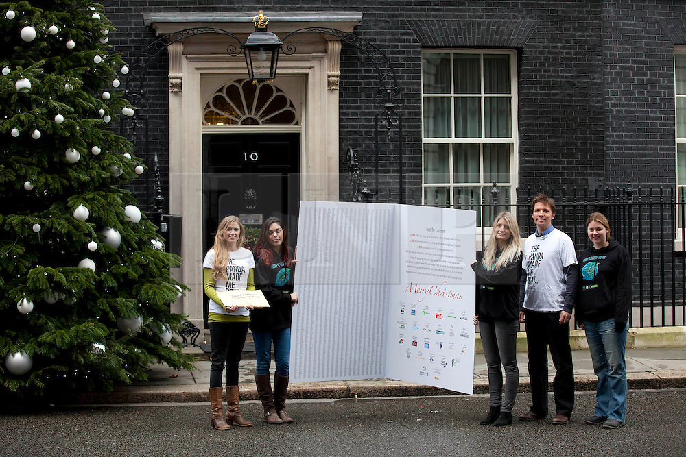 © Licensed to London News Pictures. 21/12/2012. London, UK. Members of the World Wildlife Fund (WWF) and other major charities deliver a petition of over 40,000 signatures on a card to number 10 Downing Street. The petition asks British Prime Minister, David Cameron, to address climate change and renewable energy in 2013. Photo credit: Matt Cetti-Roberts/LNP..