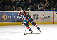 KELOWNA, CANADA, NOVEMBER 23: Colten Martin #8 of the Kelowna Rockets skates with the puck against the Prince George Cougars visit the Kelowna Rockets  on November 23, 2011 at Prospera Place in Kelowna, British Columbia, Canada (Photo by Marissa Baecker/Shoot the Breeze) *** Local Caption *** Colten Martin;
