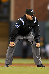 March 28, 2011; San Francisco, CA, USA;  Major League Baseball umpire Cory Blaser (89) during the eighth inning between the San Francisco Giants and the Oakland Athletics at AT&T Park.  San Francisco defeated Oakland 4-3.