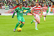 Celtic FC Midfielder Kris Commons on the attack during the Ladbrokes Scottish Premiership match between Hamilton Academical FC and Celtic at New Douglas Park, Hamilton, Scotland on 4 October 2015. Photo by Craig McAllister.